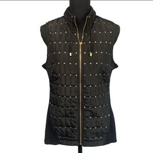 CHICOS | Gold Sequin Black Quilted Zipper Vest